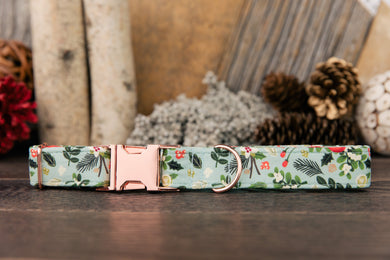 Mint Winter Floral Dog Collar