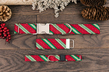 Load image into Gallery viewer, Red and Green Candy Cane Cat Collar