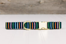 Load image into Gallery viewer, Navy Striped Dog Collar