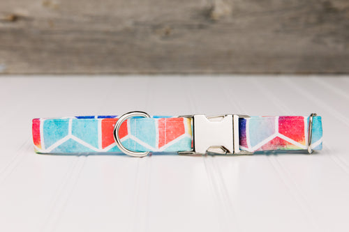 Water Resistant Geometric Colourful Dog Collar