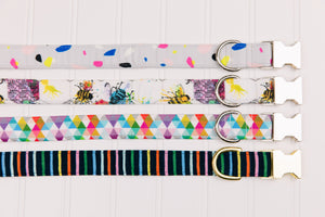 Colourful Bees Dog Collar