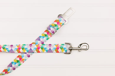 Colourful Triangle Geometric Dog Seatbelt