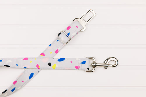 Grey and Neon Spots Dog Seatbelt