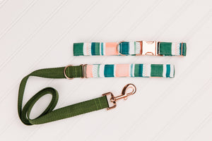 Water Resistant Green and Pink Tropical Dog Collar