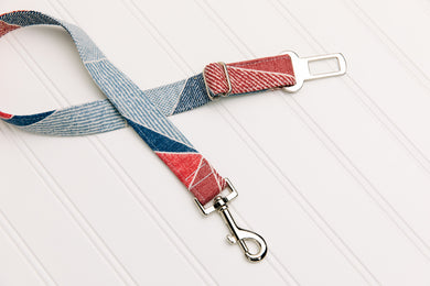 Patchwork Denim Dog Seatbelt
