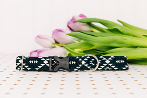 Water Resistant Black and White Aztec Dog Collar