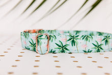 Load image into Gallery viewer, Tropical Palm Trees and Flamingos Dog Collar