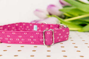 Magenta Arrows Minimalist Print Dog Collar