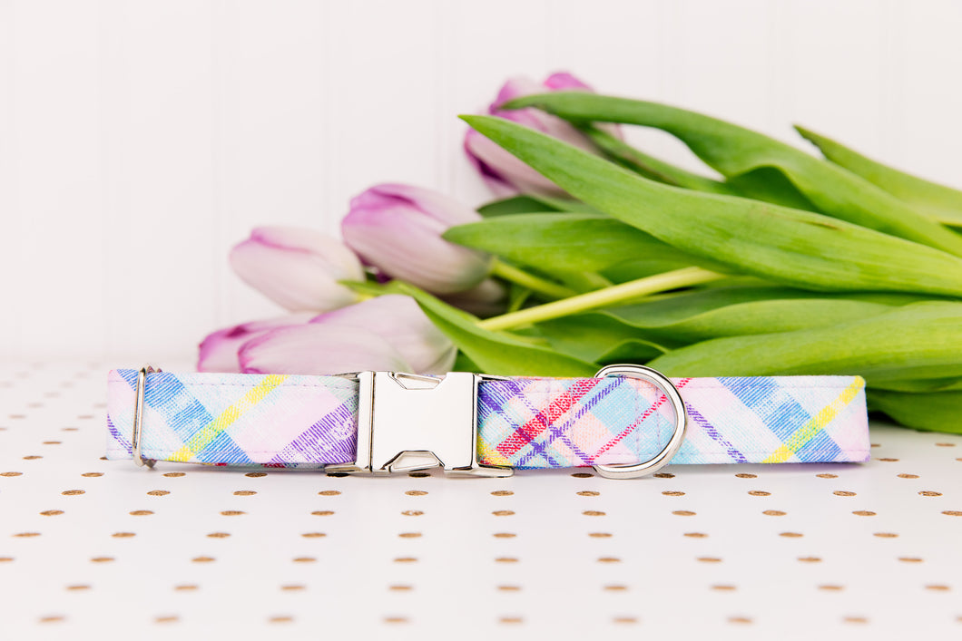 Pastel Spring Plaid Dog Collar