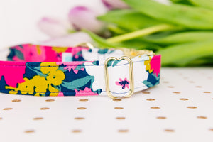 Giant Navy and Magenta Spring Bloom Dog Collar