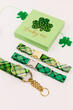 Load image into Gallery viewer, St Patrick's Day Hunter Green Plaid Dog Collar