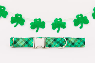 St Patrick's Day Hunter Green Plaid Dog Collar