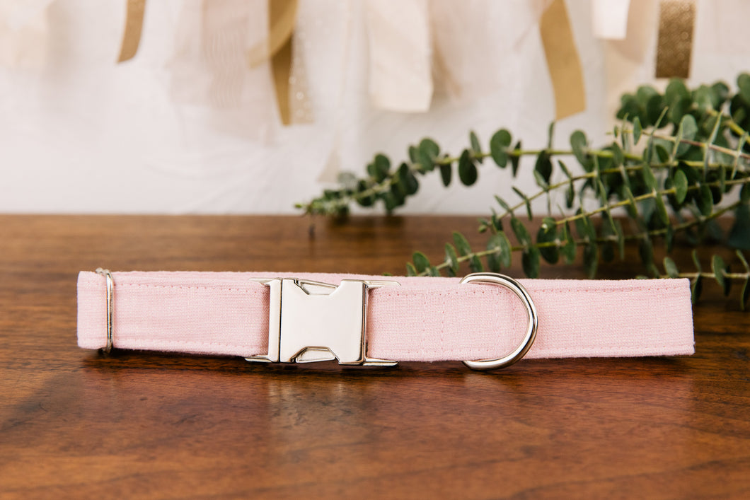 Pastel Pink Special Occasion Linen & Cotton Blend Collar