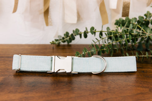 Seafoam Green Special Occasion Linen & Cotton Blend Collar