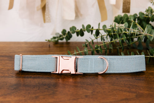 Slate Blue Special Occasion Linen & Cotton Blend Collar