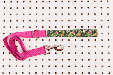 Tropical Pineapples and Hibiscus Matching Dog Leash