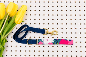 Giant Navy and Magenta Spring Bloom Matching Dog Leash
