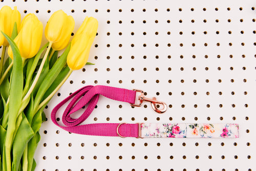 Rose Gold Watercolour Florals Matching Dog Leash