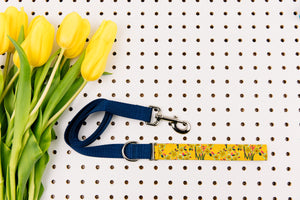 Mustard Yellow Floral Bundles Matching Dog Leash