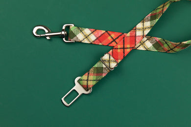 Gold Gilded Plaid Dog Seatbelt