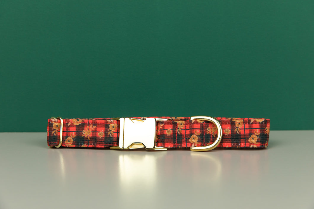 Gilded Floral Tartan Water Resistant Dog Collar