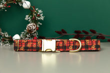 Load image into Gallery viewer, Gilded Floral Tartan Water Resistant Dog Collar