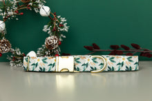 Load image into Gallery viewer, Festive White Poinsettia Water Resistant Dog Collar