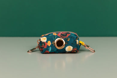 Rich Teal Floral Waste Bag Holder