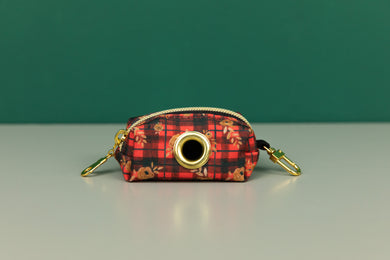 Gilded Floral Tartan Waste Bag Holder