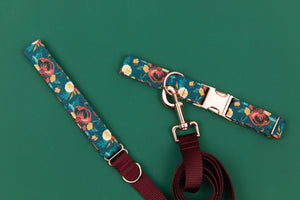 Rich Teal Floral Matching Dog Leash