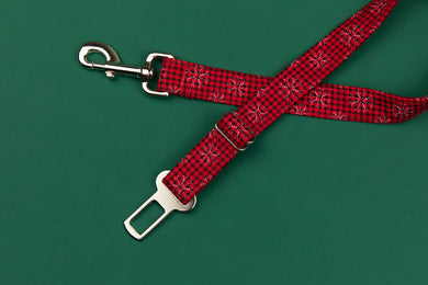 Buffalo Plaid Snowflake Dog Seatbelt