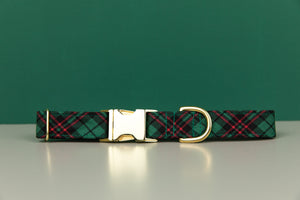 Hunter Green Tartan Dog Collar