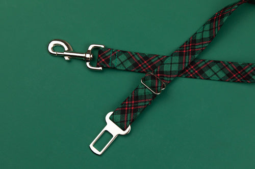 Hunter Green Tartan Dog Seatbelt