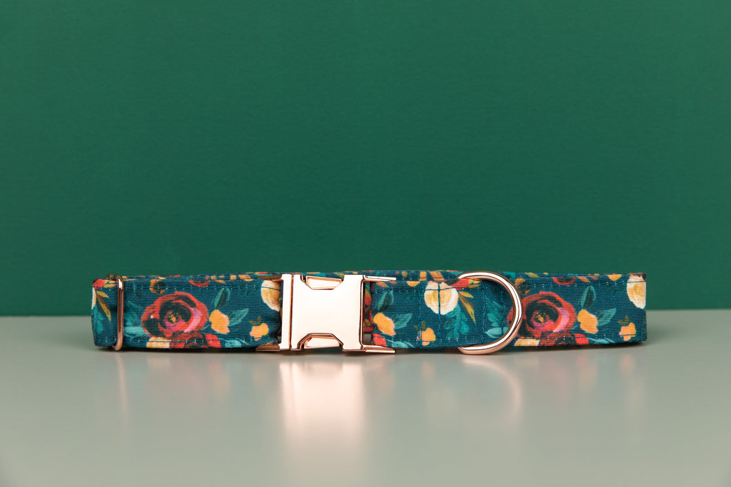 Rich Teal Floral Water Resistant Dog Collar