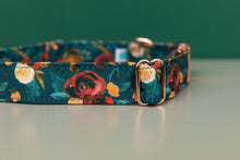 Load image into Gallery viewer, Rich Teal Floral Water Resistant Dog Collar