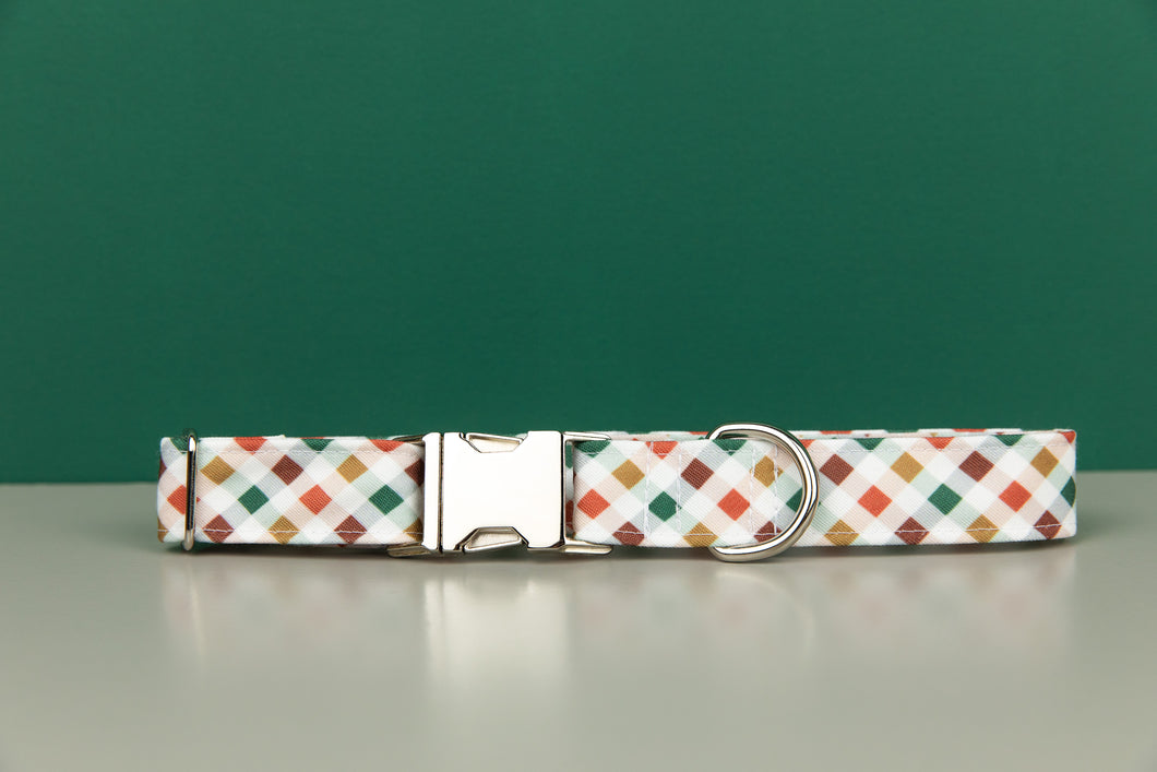 Red, Green and Gold Plaid Water Resistant Dog Collar