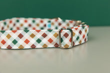 Load image into Gallery viewer, Red, Green and Gold Plaid Water Resistant Dog Collar