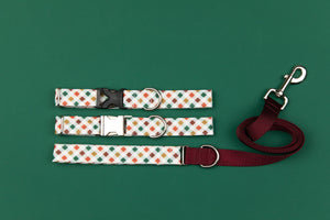 Red, Green and Gold Plaid Matching Dog Leash