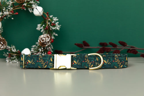 Moody Holly & Berries Water Resistant Dog Collar