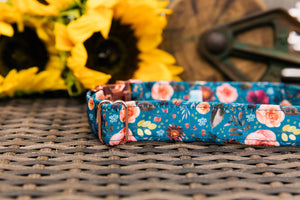 Water Resistant Autumn Blooms Dog Collar
