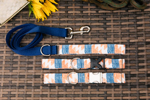 Water Resistant Orange and Blue Aztec Dog Collar