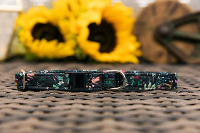 Black Fable Floral Breakaway Cat Collar