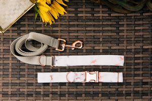 Water Resistant Rose Gold Marble Dog Collar