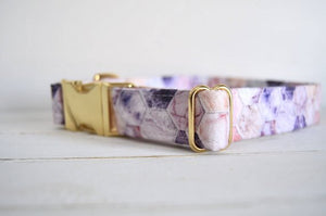 Purple Marble Hexagon Dog Collar