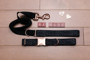 Valentine's Tiny Hearts Rose Gold Customizable Dog Collar