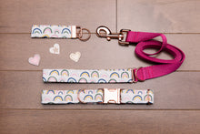 Load image into Gallery viewer, Valentine's Rainbow and Rose Gold Customizable Dog Collar