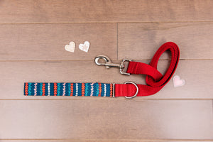 Valentine's Striped Hearts Dog Leash