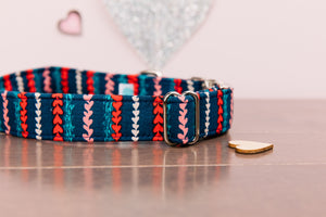 Valentine's Striped Hearts Customizable Dog Collar