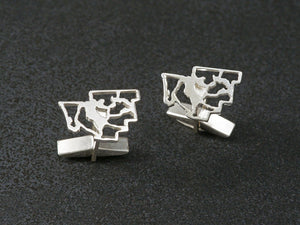 muskoka map cufflinks sterling silver