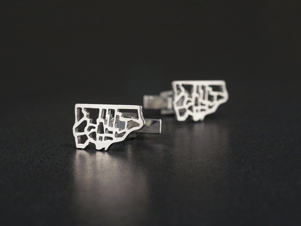 toronto map cufflinks sterling silver